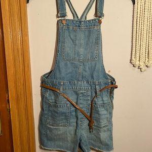 Madewell Adirondack Overall Shorts, Size XS